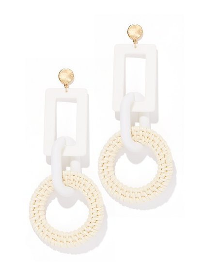 Plus Size White Geometric Dangle Earring - Fashion To Figure
