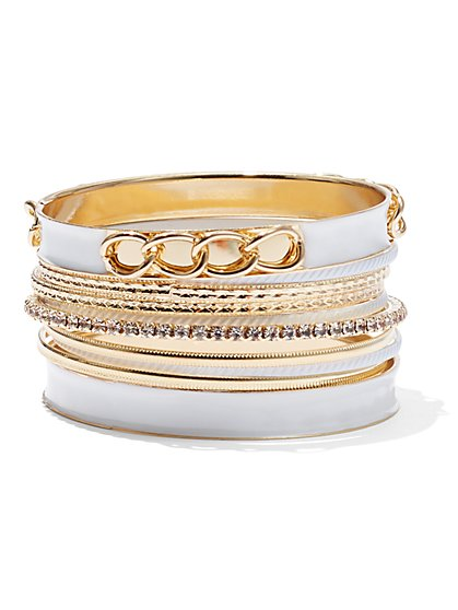 Plus Size White & Gold Bangle Set - Fashion To Figure