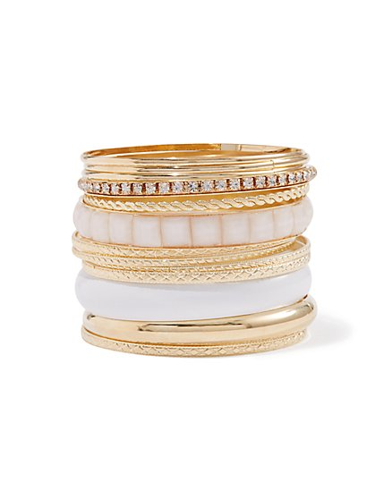 Plus Size White & Gold-Tone Bangle Set - Fashion To Figure