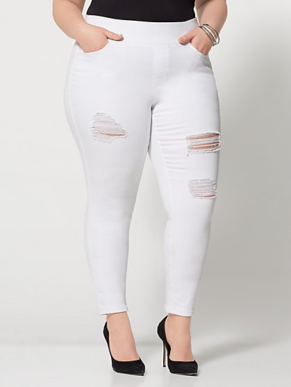 Plus Size White High-Rise Jeggings - Tall Inseam - Fashion To Figure
