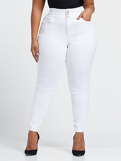Plus Size White High-Rise Triple Button Skinny Jeans - Fashion To Figure