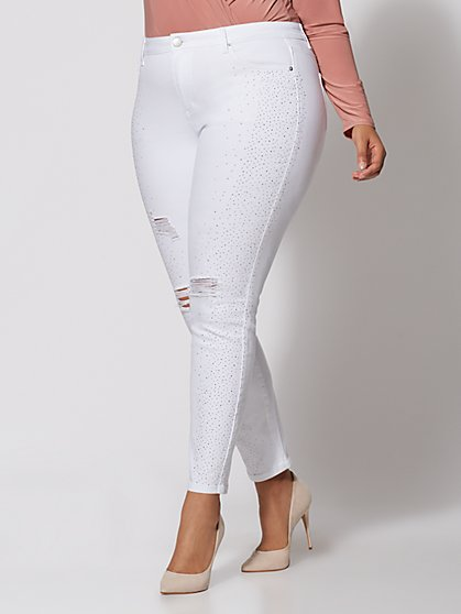 Plus Size White Rhinestone Detail Skinny Jeans - Fashion To Figure