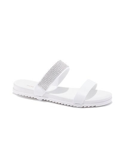 Plus Size White Strappy Rhinestone Sandals - Fashion To Figure