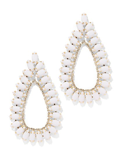 Plus Size White Tear Drop Statement Earring - Fashion To Figure