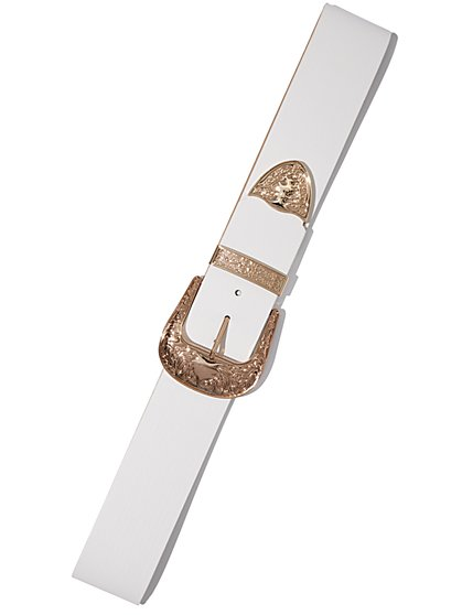 Plus Size White Western Buckle Belt - Fashion To Figure