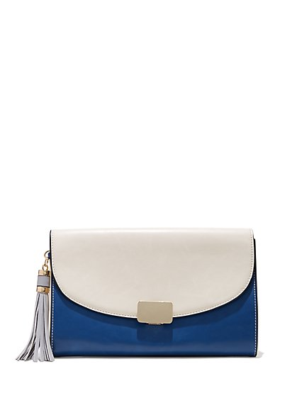 Plus Size White and Navy Tassel Clutch - Fashion To Figure