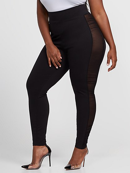 Plus Size Whitney Good Form Ponte Pants with Mesh Panels - Fashion To Figure