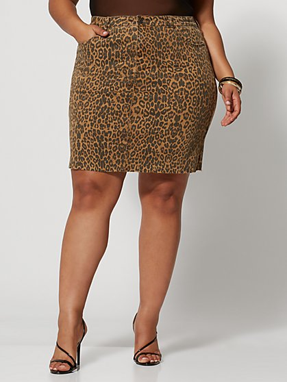 Plus Size Willa Leopard Denim Skirt - Fashion To Figure