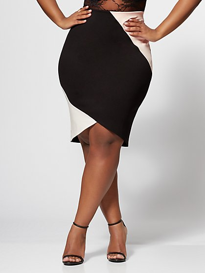 Plus Size Willow Color Block Pencil Skirt - Fashion To Figure