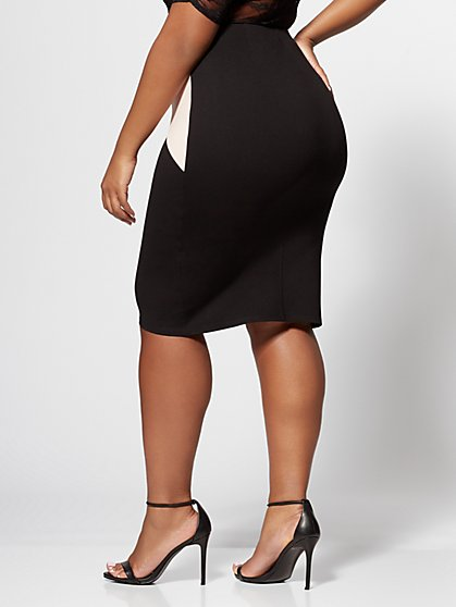8d429ede3d29f6 ... Plus Size Willow Colorblock Pencil Skirt - Fashion To Figure