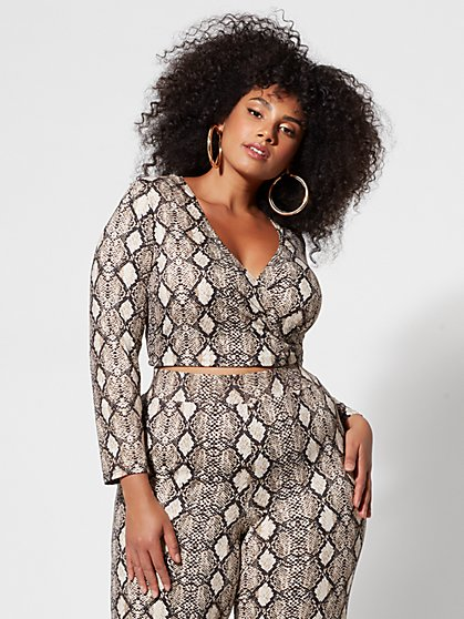 Plus Size Willow Snake-Print Crop Top - Fashion To Figure