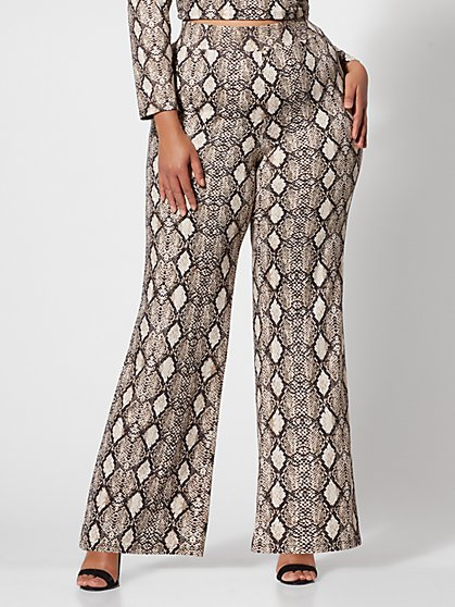 Plus Size Willow Snake-Print Flare Pants - Fashion To Figure