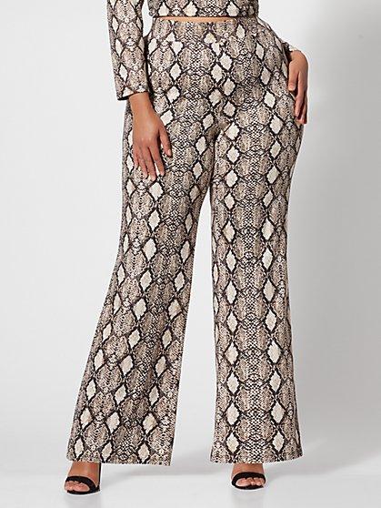 5fd9e2ec5c2 Plus Size Willow Snake-Print Flare Pants - Fashion To Figure ...