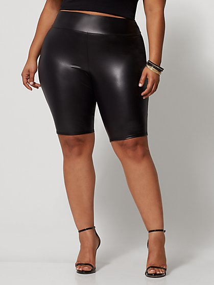 Plus Size Winona Faux-Leather Bike Short - Fashion To Figure