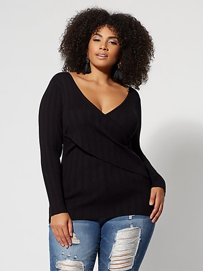 Plus Size Wrap-Front Sweater - Fashion To Figure