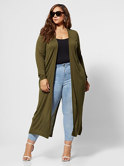 Plus Size Xiomara Long Cardigan Sweater - Fashion To Figure