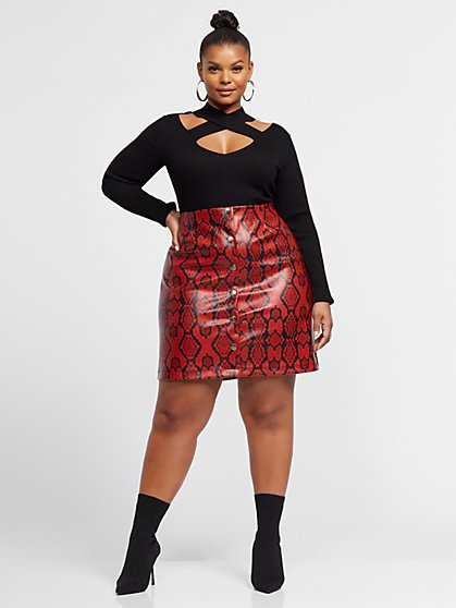 Plus Size Yara Faux-Snake Pencil Skirt - Fashion To Figure