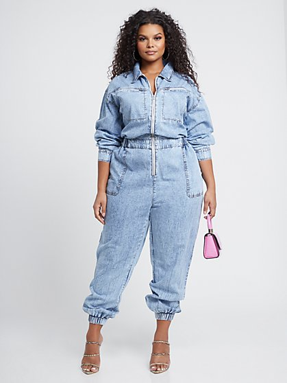 Plus Size Yara Zip Front Utility Jumpsuit - Fashion To Figure