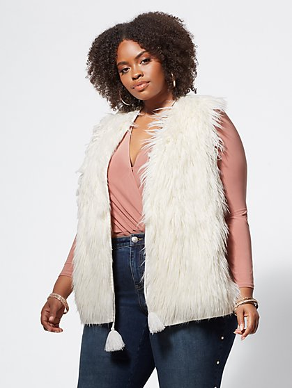 Plus Size Yasmin Faux-Fur Sweater Vest - Fashion To Figure