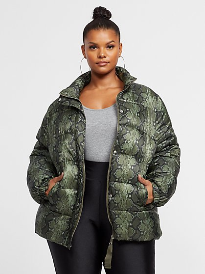 Plus Size Yazmin Snake Print Puffer Jacket - Fashion To Figure