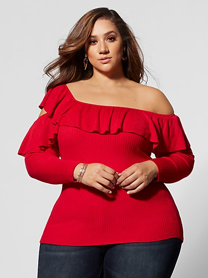Plus Size Yelle Ruffle One-Shoulder Sweater - Fashion To Figure