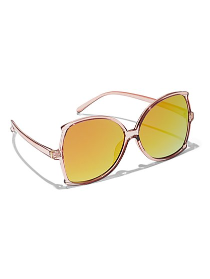 Plus Size Yellow Lense Pink Sunglasses - Fashion To Figure