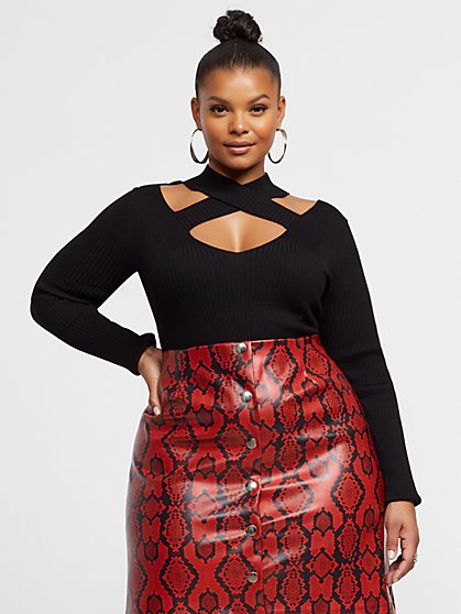 Plus Size Yulia Cross Front Cut-Out Detail Top - Fashion To Figure
