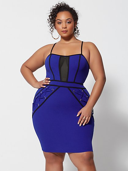 Plus Size Yvette Lace-Up Detail Bodycon Dress - Fashion To Figure