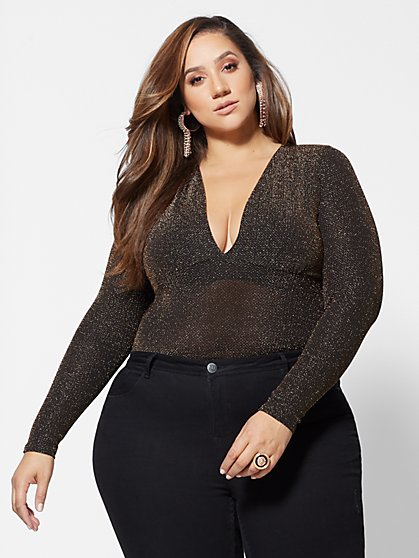 Plus Size Yvonne Shimmer Bodysuit - Fashion To Figure