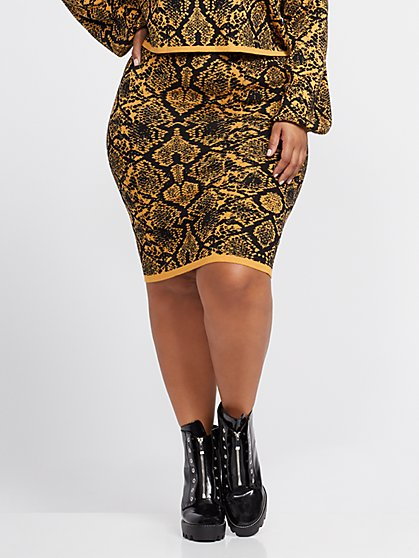 Plus Size Yvonne Snake Print Sweater Pencil Skirt - Fashion To Figure