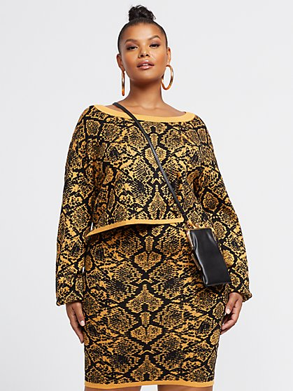 Plus Size Yvonne Snake Print Sweater - Fashion To Figure