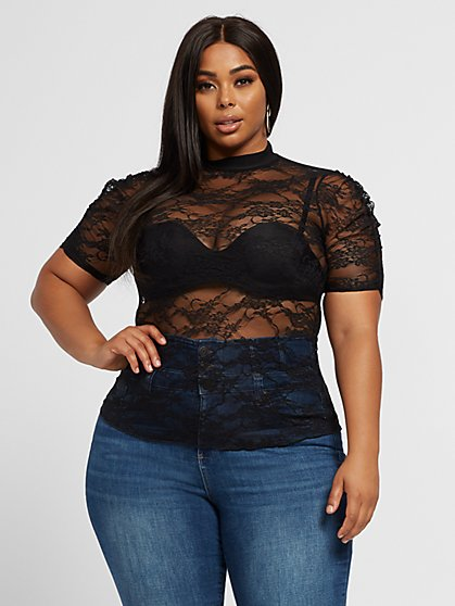 Plus Size Zaira Ruched Shoulder Lace Top - Fashion To Figure