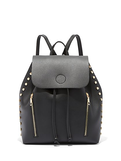 Plus Size Zip & Stud Detail Backpack - Fashion To Figure