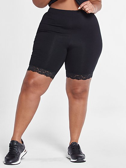 Plus Size Zoe Lace Hem Bike Shorts - Fashion To Figure