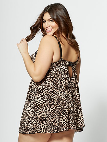 91488243d4 ... Plus Size Zoe Leopard Print Chemise Lingerie Set - Fashion To Figure
