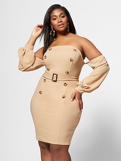 6db37f940b7 Plus Size Zoe Off-Shoulder Bodycon Dress - Fashion To Figure ...