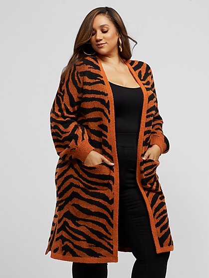 Plus Size Zooey Long Tiger Cardigan Sweater - Fashion To Figure